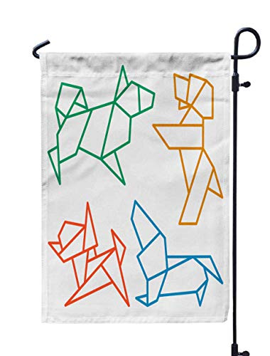 GROOTEY Welcome Outdoor Garden Flag Home Yard Decorative 12X18 Inches Origami Dogs Icon Set Abstract Low Pet Dog Breed Sign Silhouette Isolated White Freehand Double Sided Seasonal Garden -