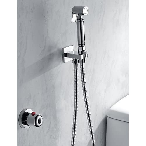 lovely SS-Bathroom/Toilet Handheld Shattaf Bidet Shower Spray, With Thermostatic Faucet Valve And 150 cm Stainless Steel Hose