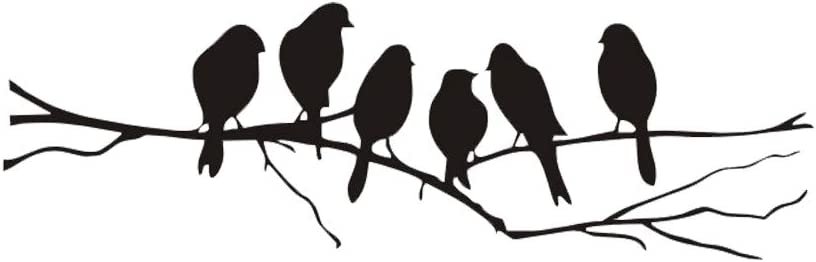 6 Birds Standing on Tree Branch Wall Decals Stickers Removable Funny Art Vinyl Door Decal Sticker Decor for Family Home Bedroom Living Room Decorations Black (Bird)