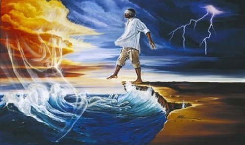 Step Out on Faith (Male) by WAK - Kevin A. Williams - 23 x 38 inches - Fine Art Print / Poster by GatorFrames.com by