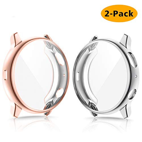 EZCO 2-Pack Screen Protector Case Compatible with Samsung Galaxy Watch Active 2 40mm / 44mm, Plated Soft Tup Case Full Coverage Screen Protective Cover Bumper Shell for Galaxy Active 2 Watch