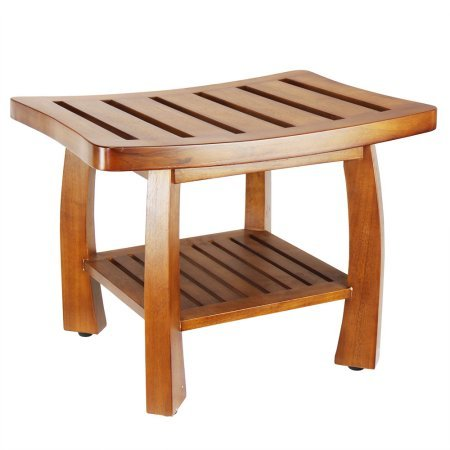 Oceanstar Solid Wood Spa Bench with Storage Shelf, Teak Color Finish