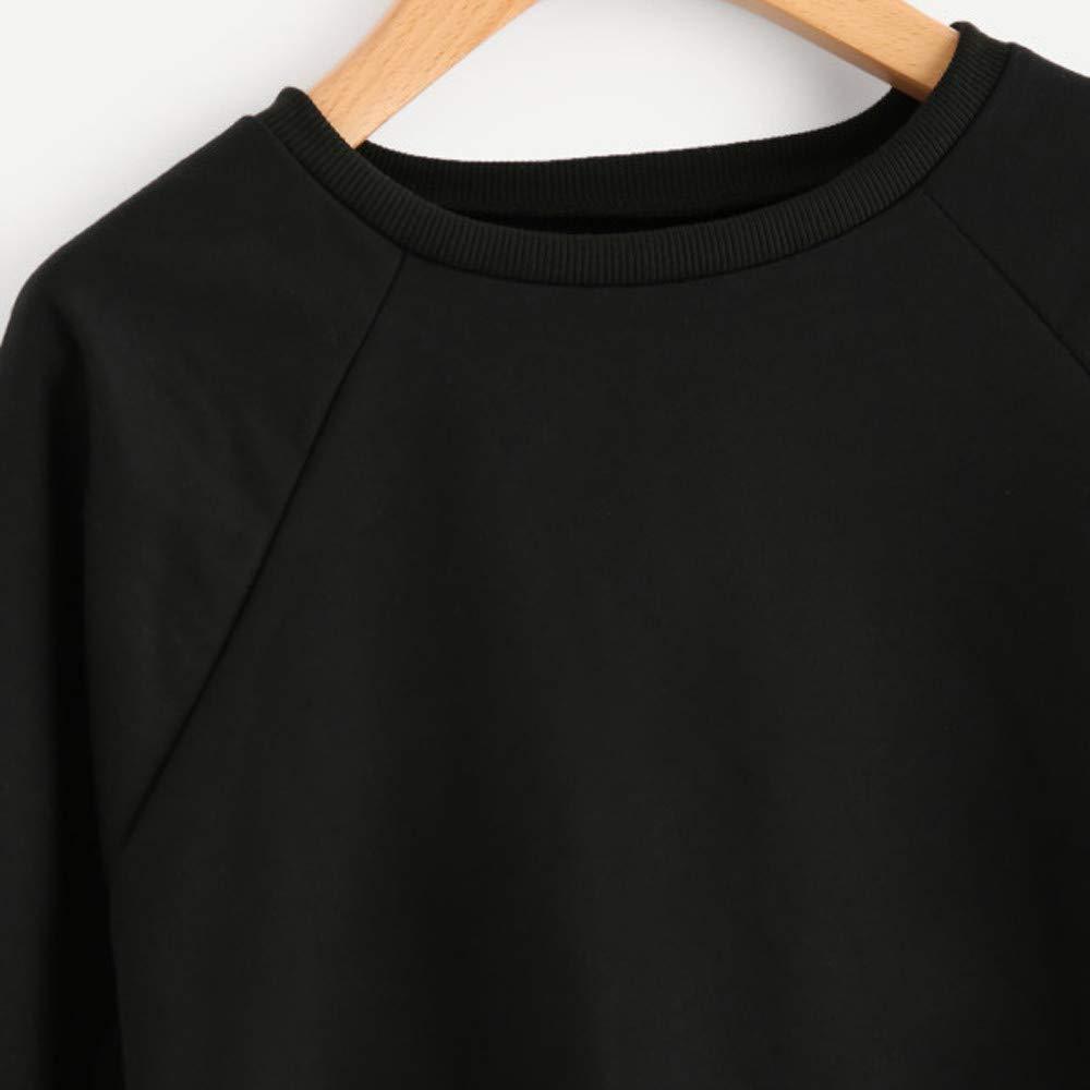 Zegeey Sweatshirt Damen Langarm Rundhals Einfarbig Fr/üHling Herbst Winter Pullover Bluse Tops Basic Tunika Sport