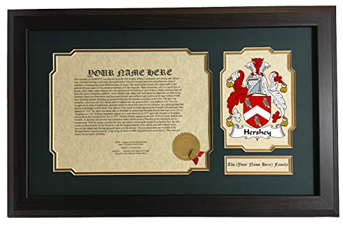 Hershey - Coat of Arms and Last Name History, 14x22 Inches Matted and Framed