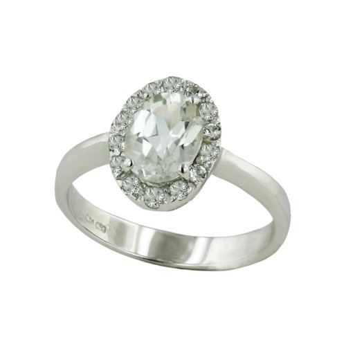 .925 Sterling Silver Oval Faceted White Topaz Gem Ring Size 9 (Faceted White Topaz Gem)