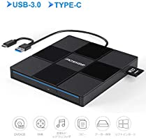 USB 3.0外付け DVD/CD ドライブ Type-C付 DVD/CD プレイヤー ポータブルドライブ (外付け DVD/CD ドライブB)
