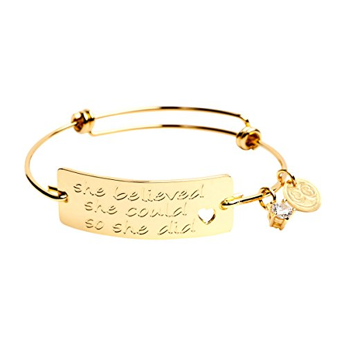 "Expandable Inspirational Jewelry Women Charm Stackable Bracelet, ""She Believed She Could So She Did"", Gift Girls Her"