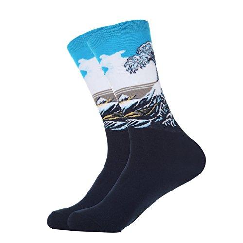 Denlix Mens Novelty Socks, Patterned Colorful Cotton Socks, Funny Socks for Men (1 Packs Great Wave),One Size