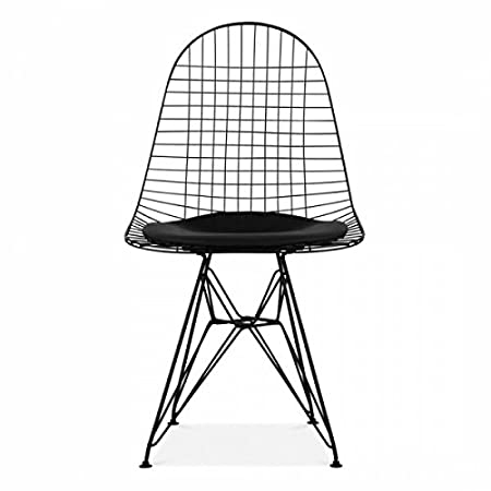 Charles eames style black wire chair with eiffel legs and black charles eames style black wire chair with eiffel legs and black cushion greentooth Images