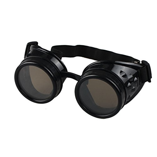 TIFENNY Vintage Style Steampunk Goggles Welding Punk Glasses Cosplay (Black, Red) (Black, - Welding Goggle Sunglasses