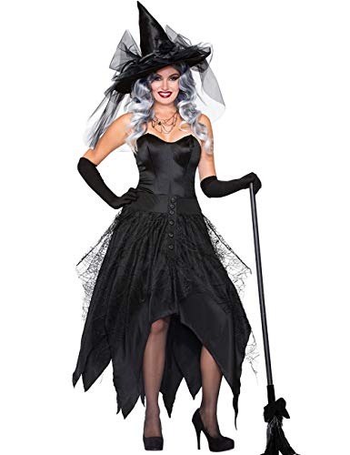 NonEcho Sexy Women Cobweb Witch Costumes with Hat Adult Halloween Sorceress Costume]()