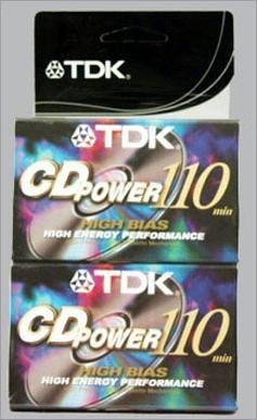 TDK CD Power 110 Cassette, 2pk High Bias Audio Cassette Tape