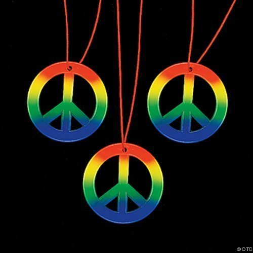 Fun Express - Rainbow Peace Sign Hippie Necklaces (4 dz)