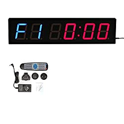 CKB LTD 4 6 Digits LED Countdown Gym Fitness Interval Includes UK PLUG & Remote Control Timer Stopwatch Wall Clock for Sports Clubs Schools TABATA BOXING CrossFit EMOM MMA 12/24-Hour Real Time Clock