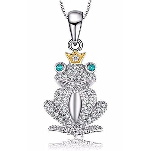 VERA NOVA JEWELRY Charming Frog 0.1Ct Nano Russian Simulated Emerald 925 Sterling Silver Pendant Necklace