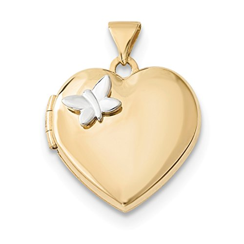 ICE CARATS 14k Two Tone Yellow Gold 18mm Heart Butterfly Photo Pendant Charm Locket Chain Necklace That Holds Pictures Fine Jewelry Gift Set For Women Heart by ICE CARATS