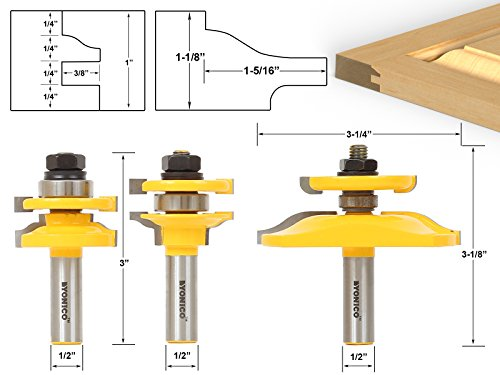 Industrial 1/2 Router Ogee Cutter - Yonico 12345 Ogee Rail and Stile with Backcutter Panel Raiser 3 Bits Router Bit Set 1/2-Inch Shank