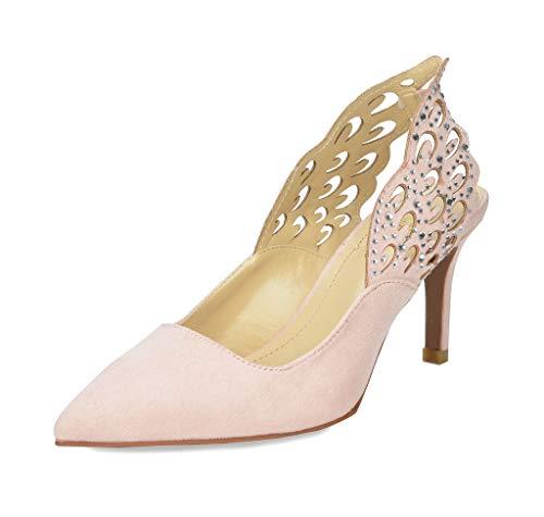 DREAM PAIRS Women's Wings Pink Slingback Kitten Heel Pointed Toe Dress Pump Shoes Size 7 B(M) - Slingback Pink