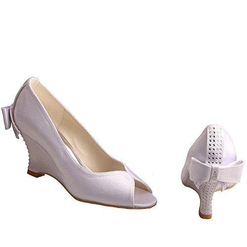 Bow Satin Bridal Toe Women's Heel Rhinestones Shoes Peep MW002 Wedge Wedopus wfCATqf