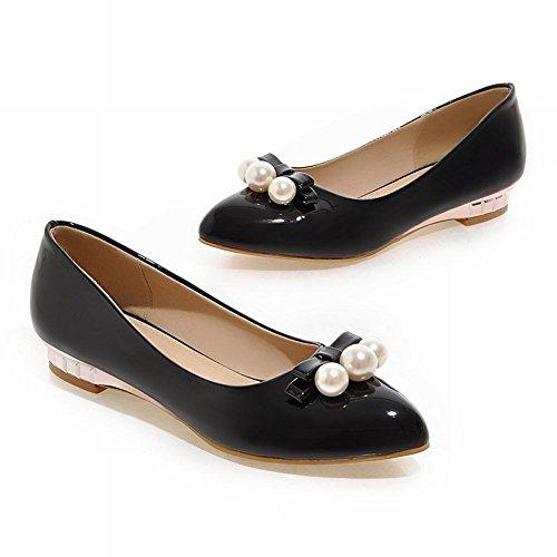 Latasa Femmes Perlé Bow Pointe-toe Bas Talon Pompes Chaussures Noir