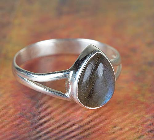 Labradorite Ring, 925 Sterling Silver, Tiny Ring, Teardrop Shape Ring, Blue Fire Ring, Daily Wear Ring, Bohemian Jewelry, Filigree Ring, Signature Ring, Trending Ring, Attract Ring, US All Size -