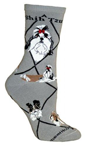 Shih Tzu Dog Gray Large Cotton Socks (Gray Shih Tzu)