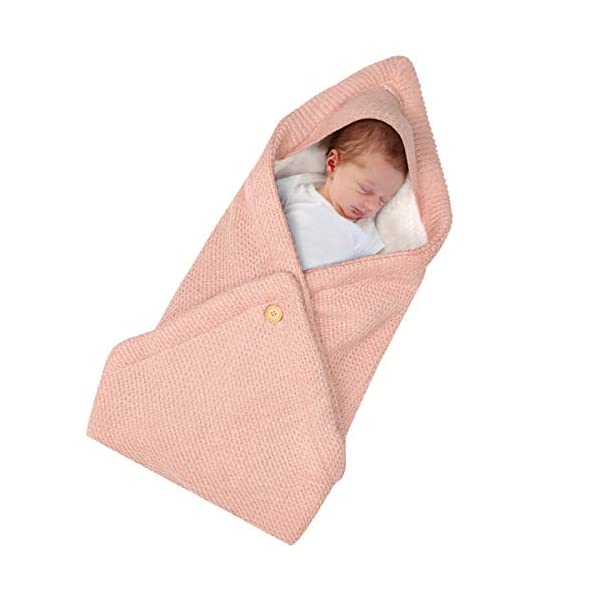 Baby Swaddle Blanket, Newborn Unisex Baby Button Swaddling Blankets Warm and Comfortable Cotton Velvet Knit Sack, Baby Stroller Cradle Sleeping Bag, Wrapped Baby (4Pink)