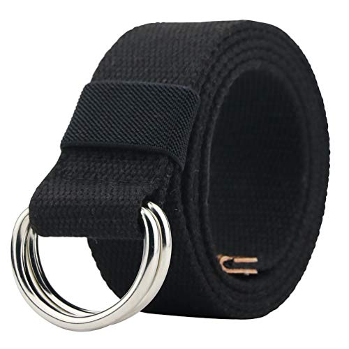 Canvas Belt, Military Web Black Belt Women/Men, Silver Double D Ring Buckle ()