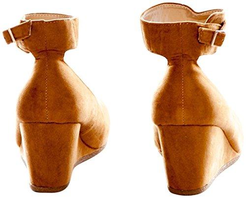 Per Sempre Patricia-03 Donna Con Cinturino Alla Caviglia Con Fibbia Tacco A Zeppa Scarpe Con Zeppa