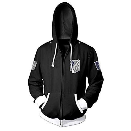 CHENMA Men Attack on Titan Long Sleeve Full-Zip Bomber Jacket Hooded Varsity Jacket (Winter/Black, S/US XS)