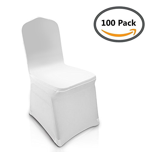 Homdox universal 100pcs White Chair Covers Spandex/Lycra Metal & Plastic Folding Decoration For Wedding, Banquet, Party by Homdox