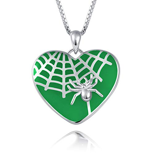 BEILIN S925 Sterling Silver Heart Jewelry: Green Glow in The Dark Spider Pendant Necklace ()