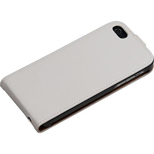 Couverture en cuir artificiel pour Apple iPhone SE - Flip-Case blanc - Cover PhoneNatic Cubierta + films de protection