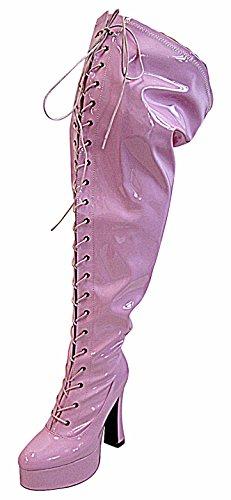 Overknee Plateau Heels Schaft Pink Weiß mit Weitem High Sxq1qgad