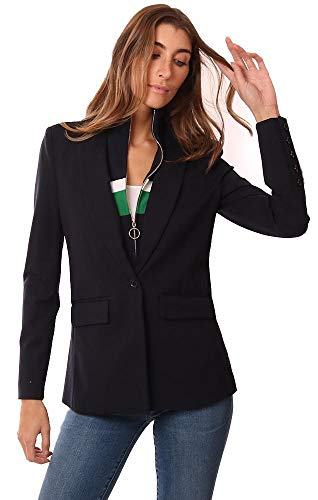 Central Park West Jackets Layered Zip Up Insert Navy Blazer - Navy - S