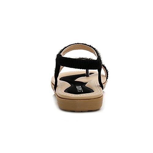 Elastic Mujer Negro Bohemia Rhinestone Tanga Shallow Sandalias Sandalias Sandals Summer CARETOO Leather De Sandalias PU Beach EqS8xw1B