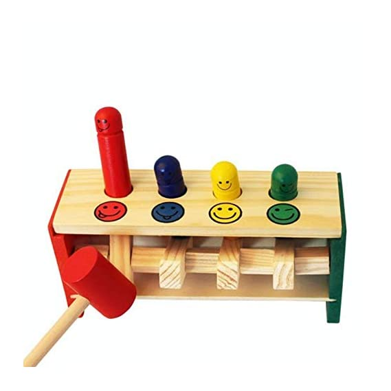 SN Toy Zone High Quality Small Wooden Blow Air Hammer Toy(1 Fancy Gel Pen Free)Hammer and Bullet Shapes Balls/Blocks