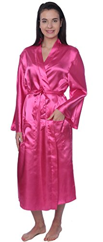 Beverly Rock Women's Plus Size Long Satin Robe Gown SR01_Fuchsia 2X ()