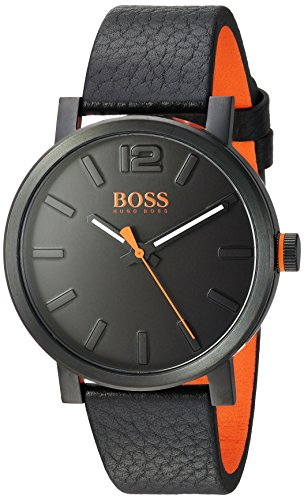 HUGO BOSS Men's 'BILBAO' Quartz Stainless Steel and Leather Casual Watch, Color:Black (Model: 1550038)