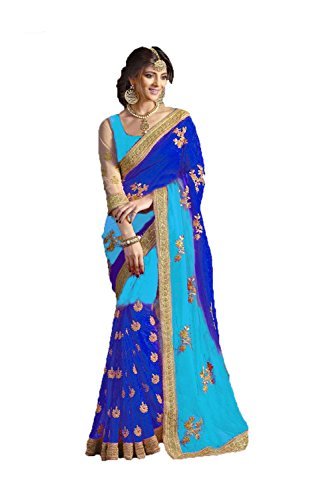 Indian Fashion Indian Women Designer Party wear Sky Blue and Navy Blue Color Saree S