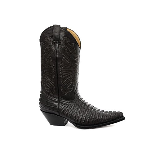 Grinders Carolina CROC Black Leather Crocodile Tail Boot Cowboy Western Boots ogH9uSSYn
