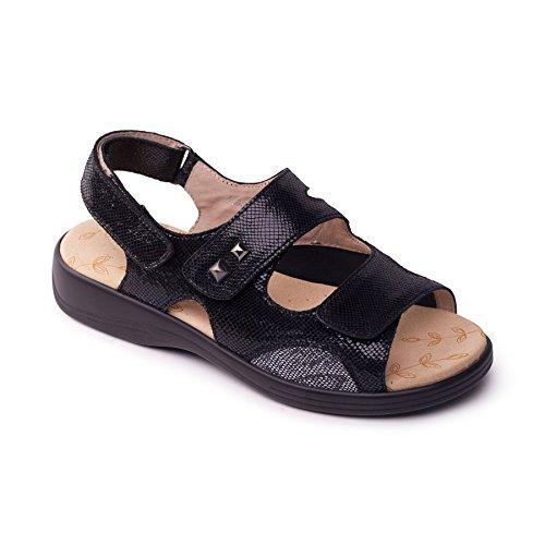 Wide Comfort Women's Sandal Black EEEE amp; Padders Shoe Super Extra Plus Range Fit 'Gem' Leather For Footcare UK Horn 30mm Width Heel Reptile Free Plus fPqwtxO