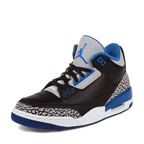 Nike Mens Air Jordan 3 Retro Black/Sport Blue-Wolf Grey Leather Basketball Shoes Size 10.5