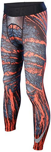 Nike Men's Dri-Fit Pro Cool Amp Training Tights-Black/Orange-Large