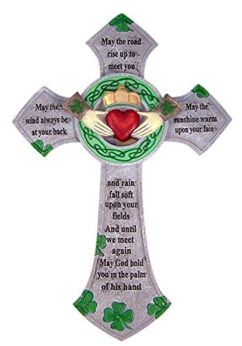 Irish Blessing Claddagh Resin Celtic Wall Cross Home Decor, 13 3/4 Inch Irish Home Blessing Cross