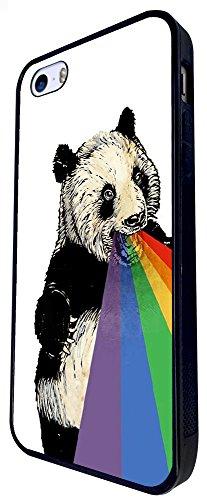 1015 - Cool Fun Cute Panda Rainbow Mouth Retro Art Illustration Trend Funny Kawaii Colourful Design iphone SE - 2016 Coque Fashion Trend Case Coque Protection Cover plastique et métal - Noir