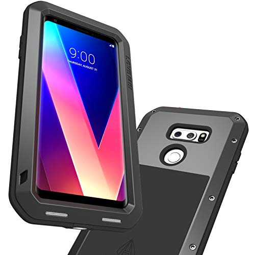 LOVE MEI LG V35 ThinQ Case, LG V30 Plus/V30S ThinQ/V30 Case with Tempered Glass Screen Protector Heavy Duty Metal Frame Silicone Rubber Cover Full Body Shockproof Scratch Resistant Bumper (Black) ()