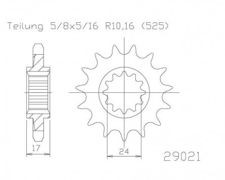 Pignone a 15 denti in acciaio 525er suddivisione (5/8 X 5/16) PW