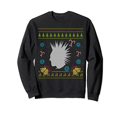 Punk Christmas Ugly Sweat Shirt Punk Rock Mohawk Design (Ugly Christmas Punk Rock Sweaters)