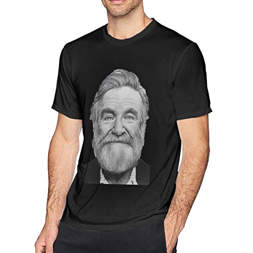 EKJASUD Men Robin Williams Fashion All Fools' Day Gift Casual Tee Black
